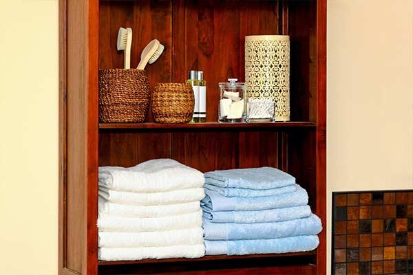 organized bathroom shelf