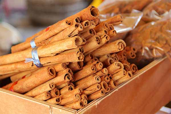 cinnamon sticks in a wooden box