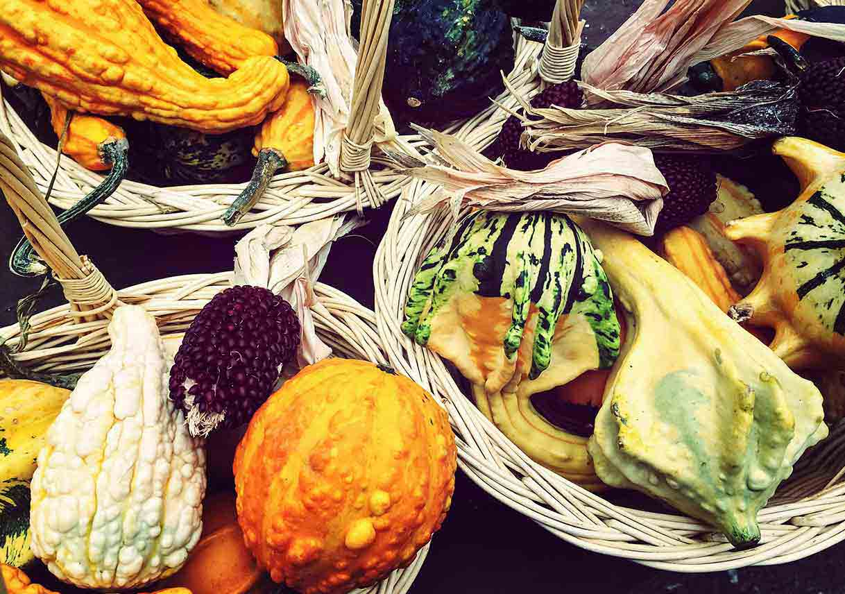 autumn vegetables arranged in baskets