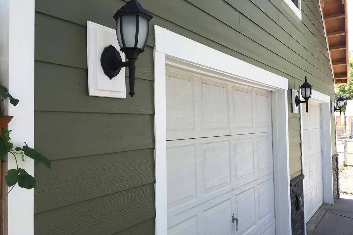 fiber cement siding around garage doors