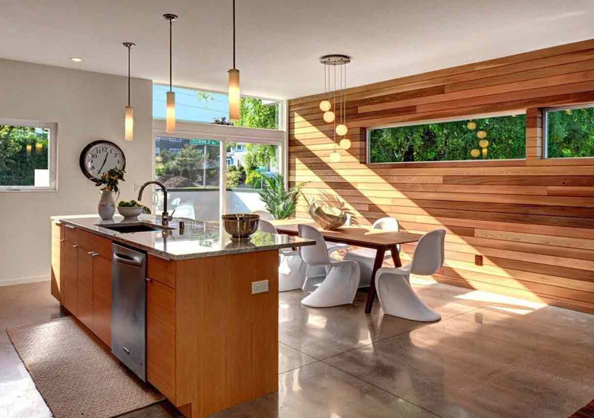 large kitchen area with accent wall made of reclaimed wooden slats