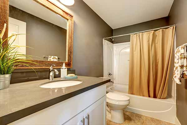 bathroom with grey walls and counter top