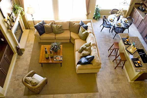 birds-eye view of neatly designed living room