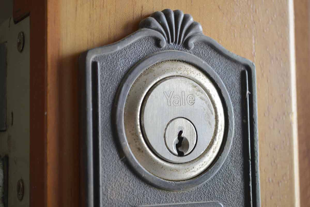 close-up image of a deadbolt