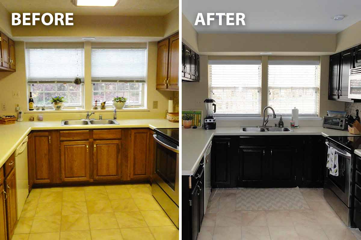 before and after images of a freshly painted kitchen
