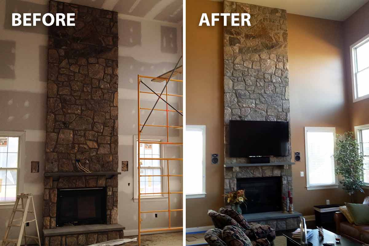 before and after image of a large, vaulted family room being painted