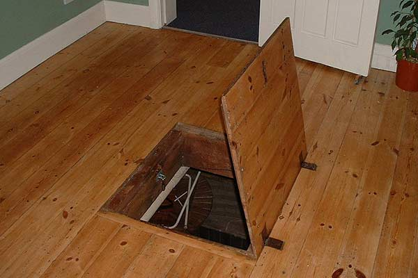 trapdoor in wood floor