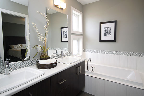 white bathroom with grey interior