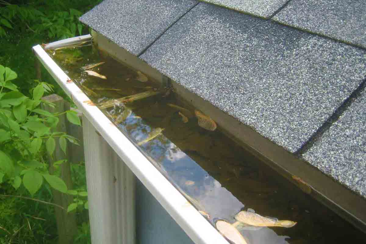 clogged gutters with water backup