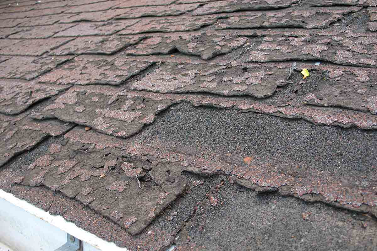 damaged asphalt shingels