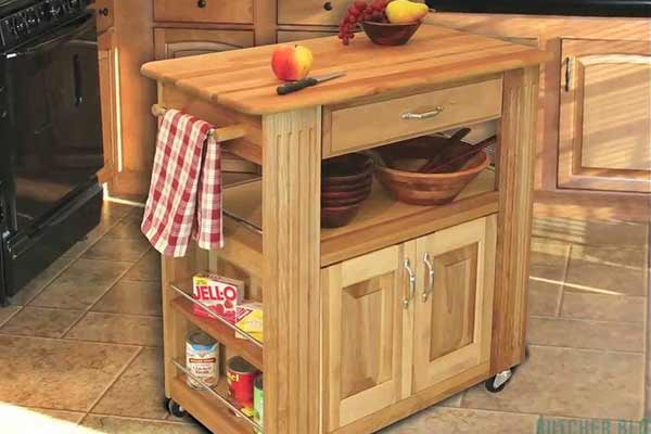 rolling wooden kitchen cart