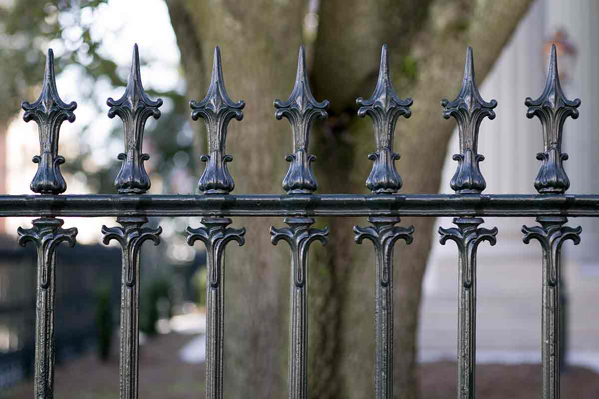 close-up of a wrought iron fence