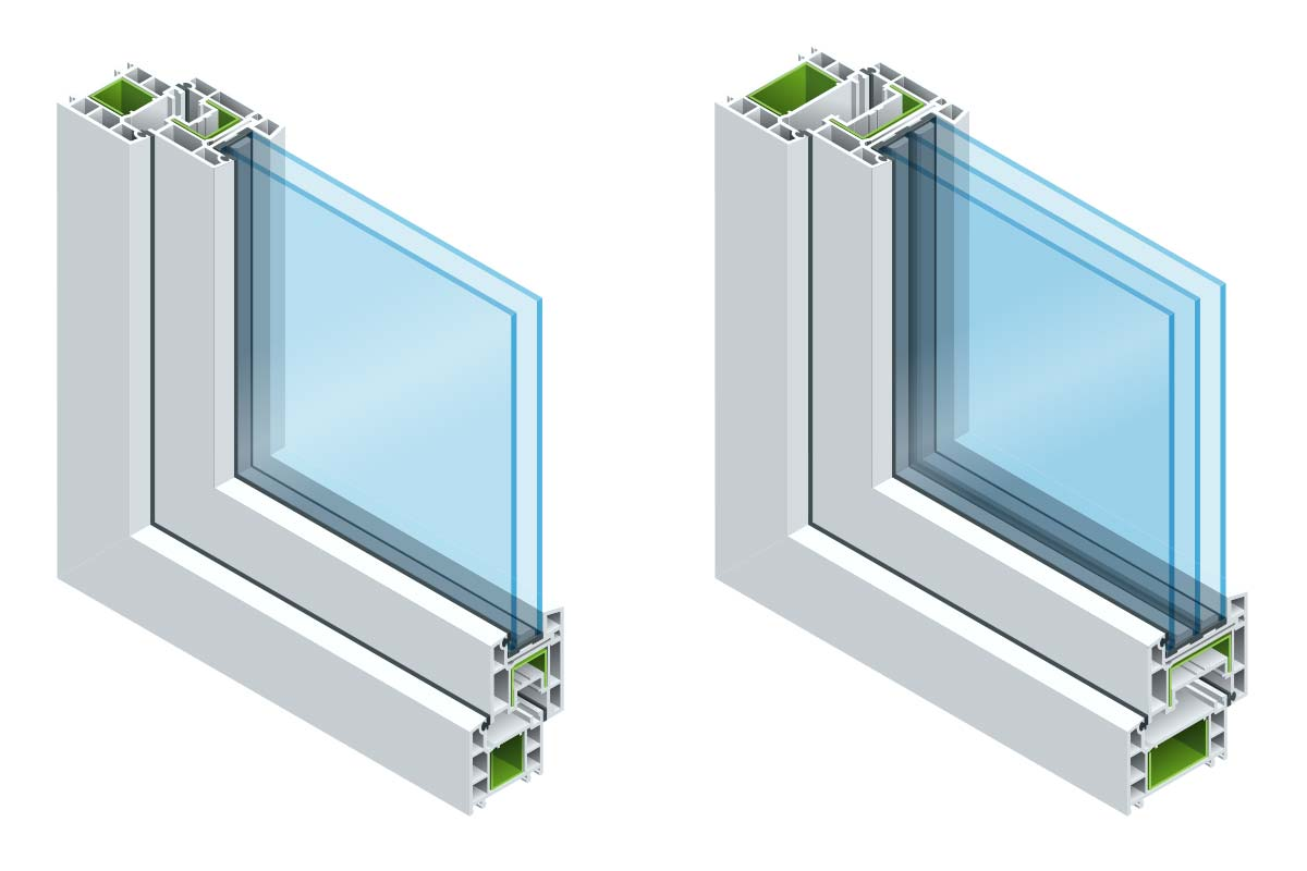 cross section of double-pane window and triple-pane window