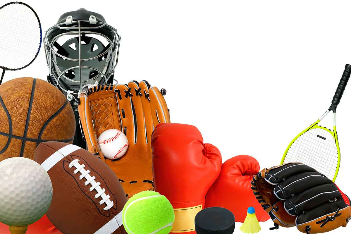 pile of sports equipment