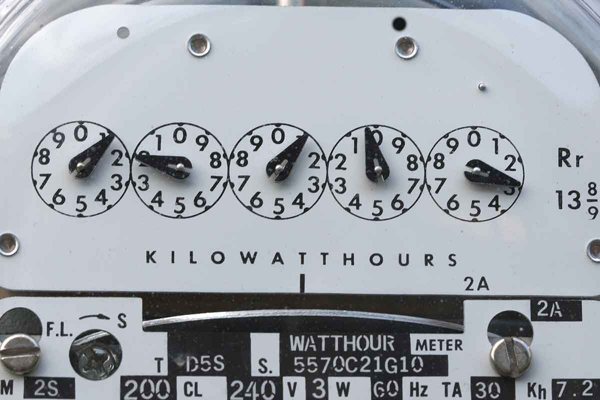 close-up image of electric meter