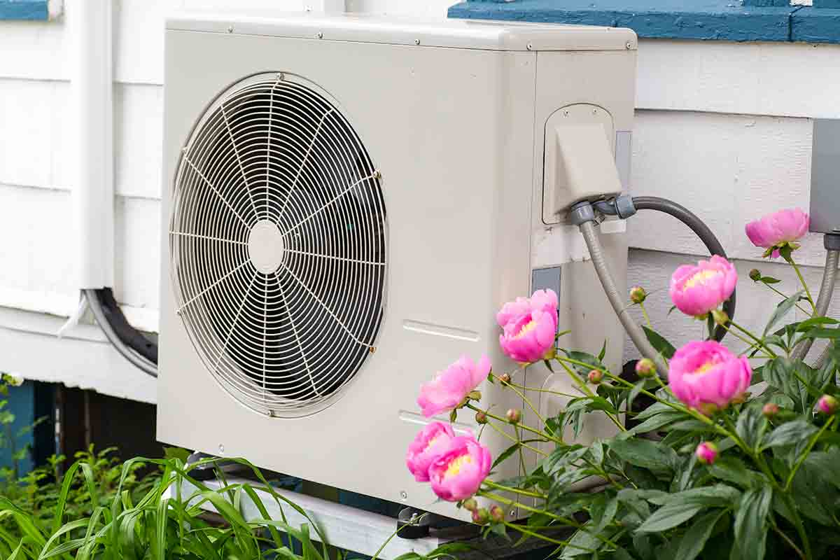 heat pump on outside of a house