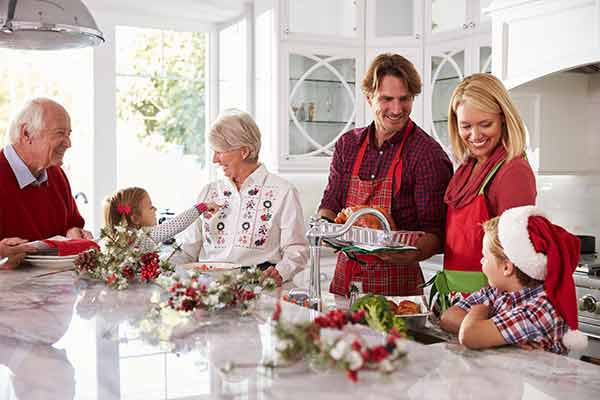family preparing holiday meal