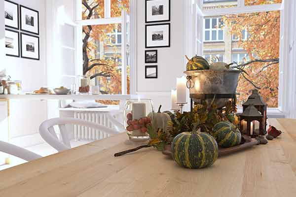 holiday kitchen table setting
