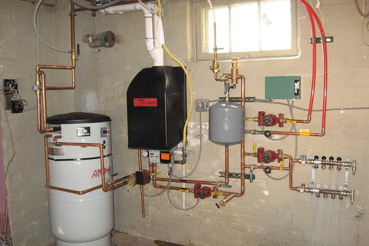 Photo of boiler system installed in home basement
