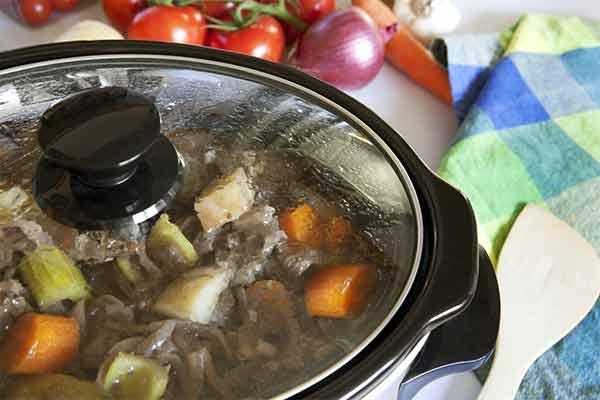 crock pot cooking a stew