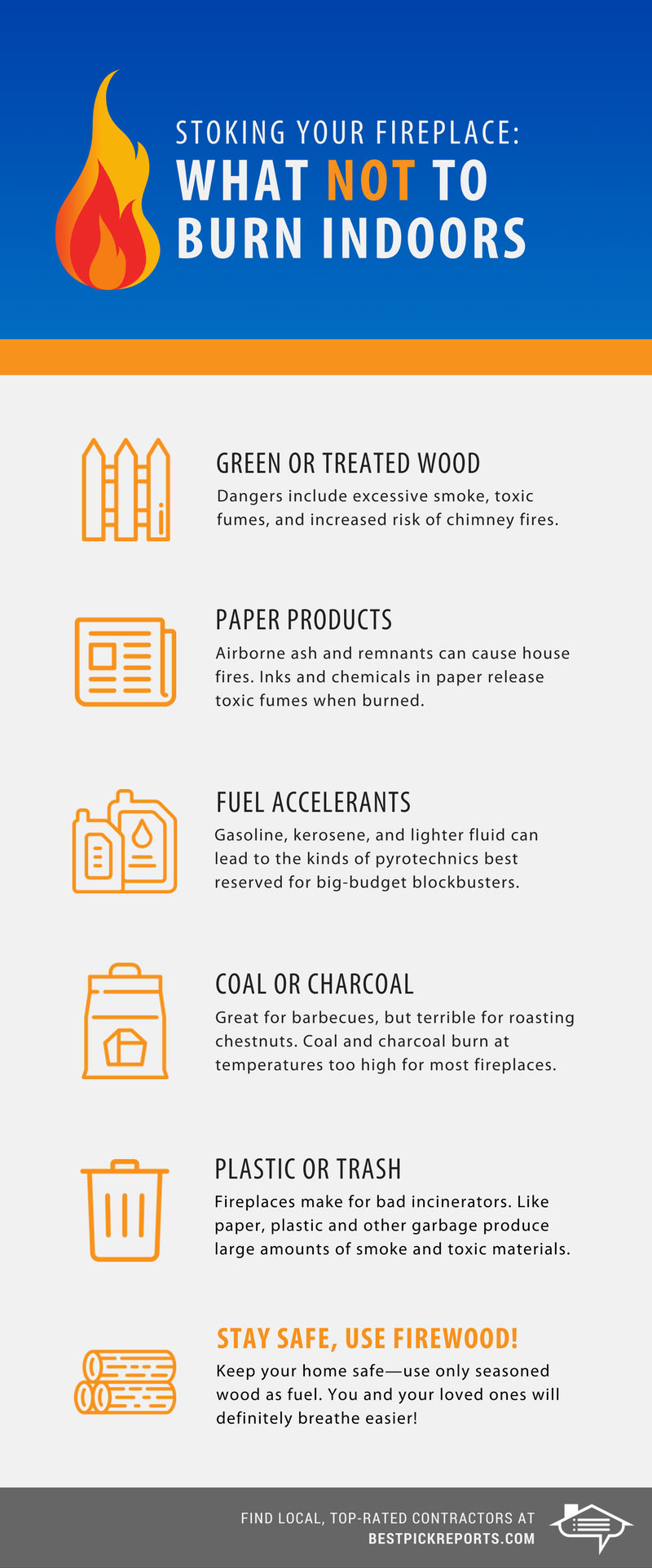 Infographic on what not to burn indoors