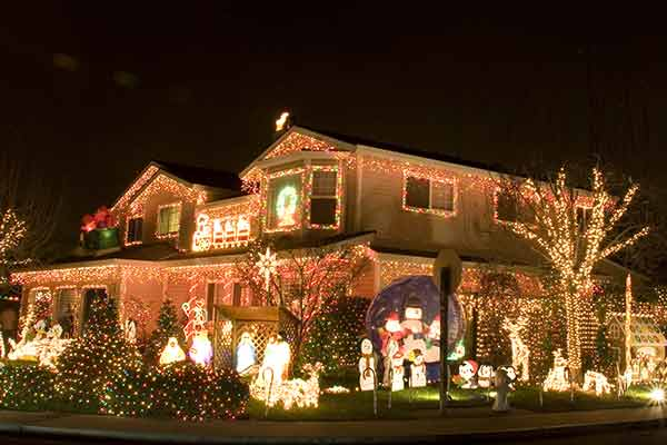 large house with extensive holiday lights