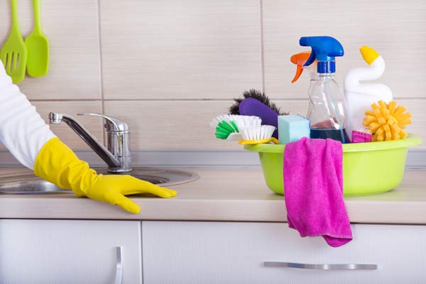 cleaning supplies in a washbin by a sink
