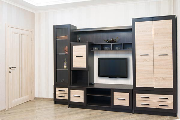 entertainment center with tv, shelves, and closet space