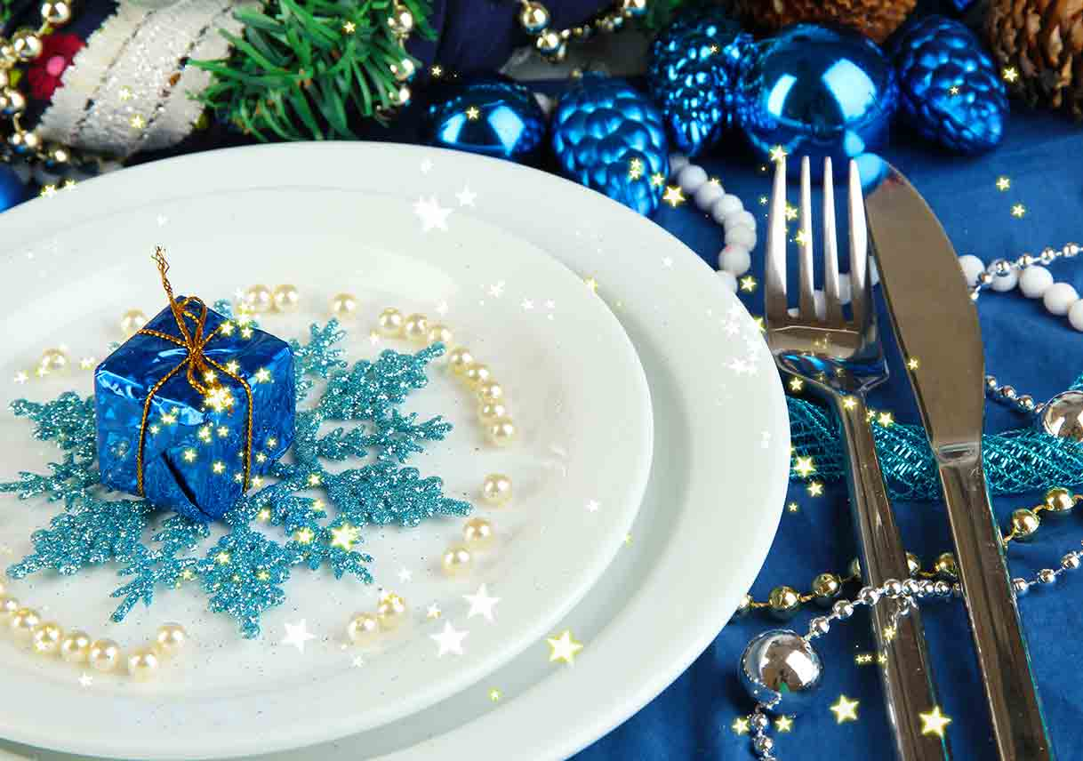 wintery blue themed place setting