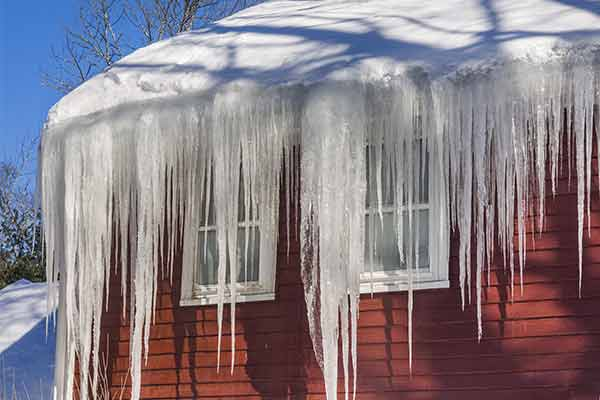 roof with snow and icicles