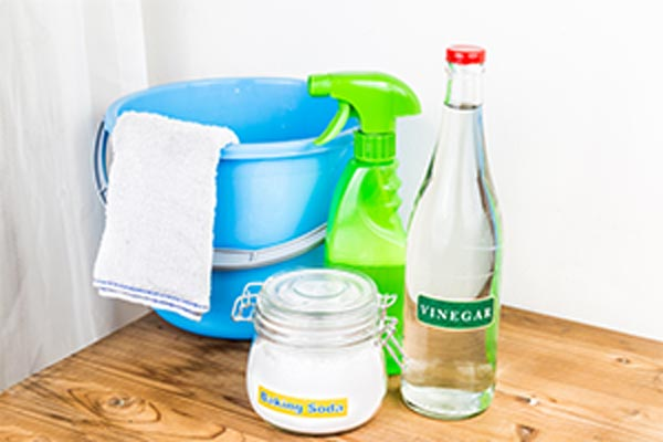 A bucket, towel, and natural cleaning products on a stand