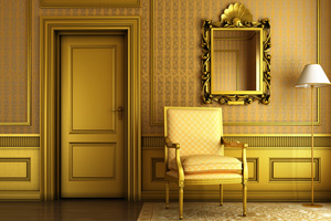 Decorative mirror with golden molding by door