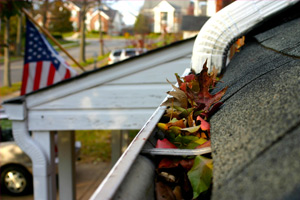 Fall leaves clogged in the gutters