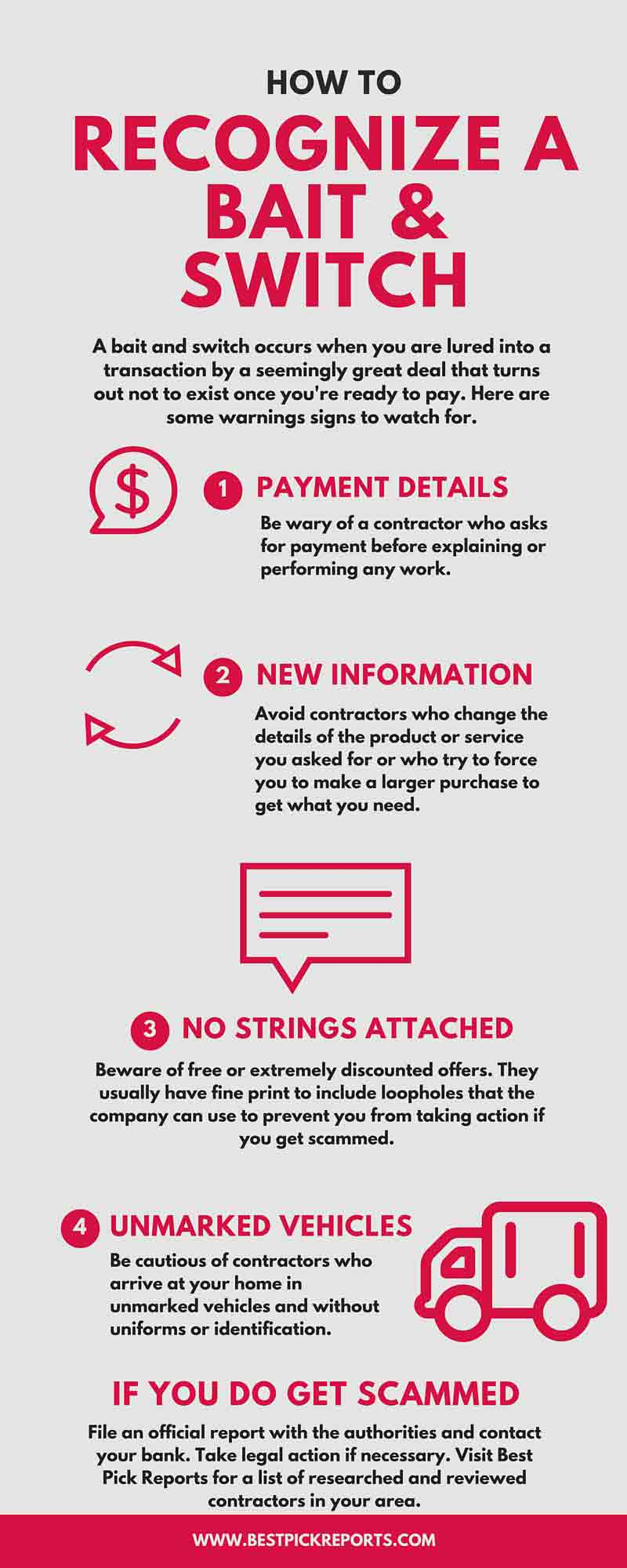 How to Recognize a Bait and Switch infographic