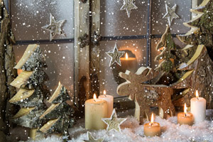 Natural Christmas Window Decoration Of Wood With Snow