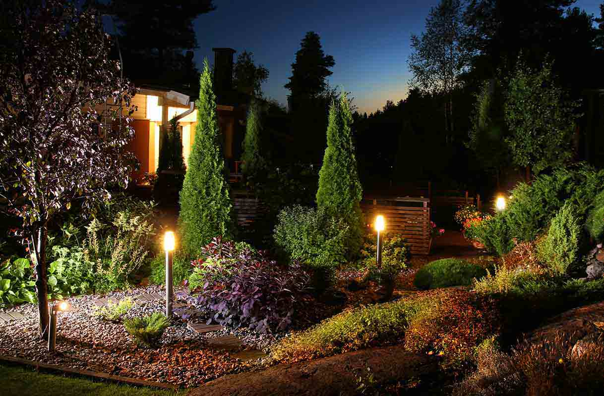 garden at night illuminated by electric torches