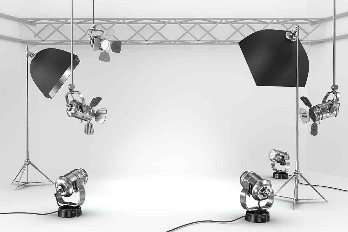 photography lighting equipment in front of a white backdrop