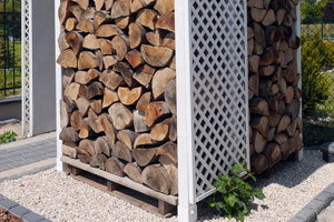 covered wood stored above ground