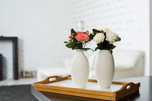 flowers on top of tray in living room