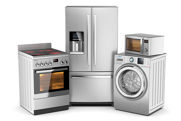 group of new silver appliances