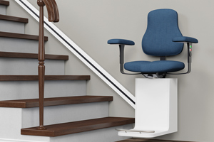 motorized stairlift at bottom of stairs