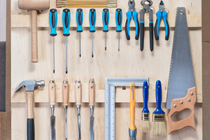 tools hanging on tool rack